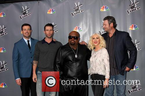 Christina Aguilera, Blake Shelton, Carson Daly and Ceelo Green 1
