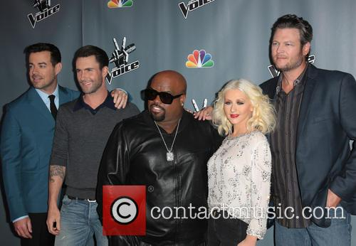 Carson Daly, Adam Levine, Ceelo Green, Christina Aguilera and Blake Shelton 10