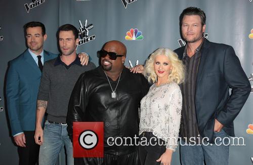 Carson Daly, Adam Levine, CeeLo Green, Christina Aguilera and Blake Shelton 4