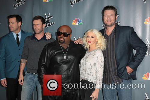 Carson Daly, Adam Levine, CeeLo Green, Christina Aguilera and Blake Shelton 5