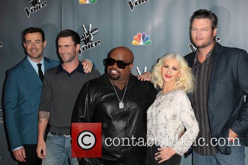Carson Daly, Adam Levine, CeeLo Green, Christina Aguilera and Blake Shelton 1