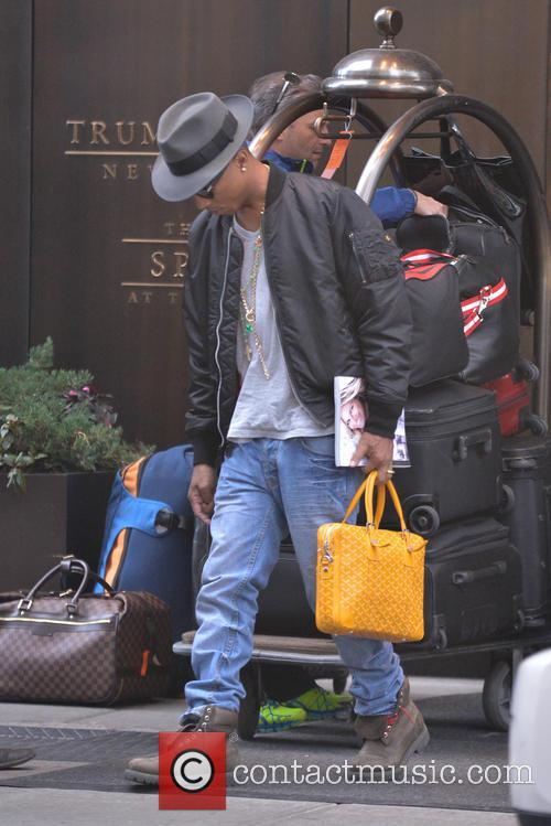 Pharrell Williams leaving his hotel in New York