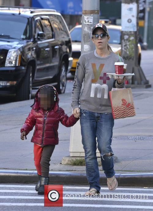 Jillian Michaels and her daughter in Manhattan