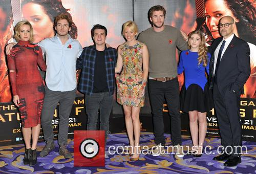 Jena Malone, Sam Claflin, Josh Hutcherson, Elizabeth Banks, Liam Hemsworth, Willow Shields and Stanley Tucci 5
