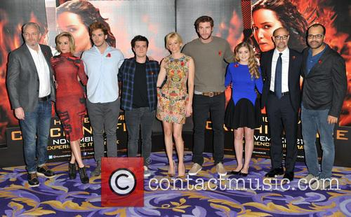 Francis Lawrence, Jena Malone, Sam Claflin, Josh Hutcherson, Elizabeth Banks, Liam Hemsworth, Willow Shields, Stanley Tucci and Jeffrey Wright 2