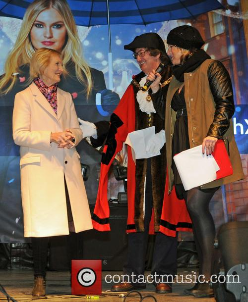 Mary Berry switches on Bath's Christmas lights