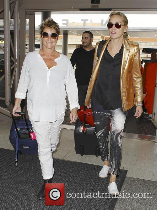 'Basic Instinct' actress Sharon Stone and a friend depart from LAX airport