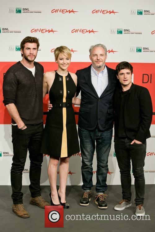 Liam Hemsworth, Francis Lawrence, Jennifer Lawrence and Josh Hutcherson 2
