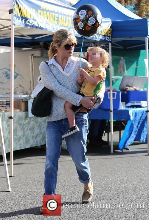 Selma Blair takes her son to the farmers...