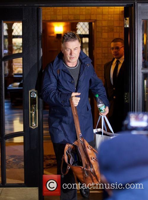 Alec Baldwin leaving his apartment