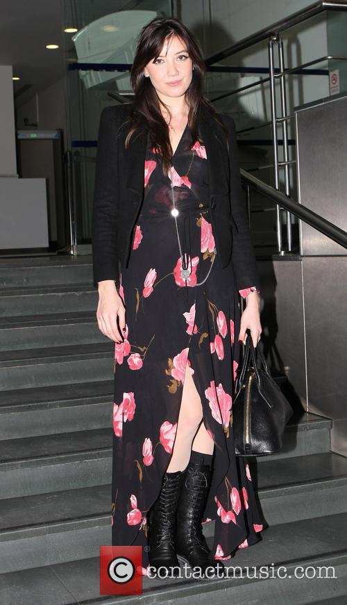 Daisy Lowe leaving the BT Tower
