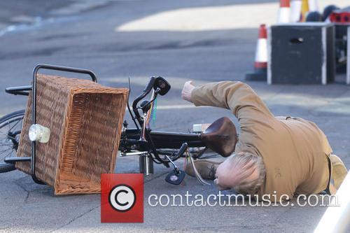 David Jason falls over on 'Still Open All Hours' set