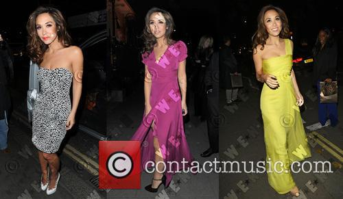 Myleene Klass wears 3 different dresses during a...
