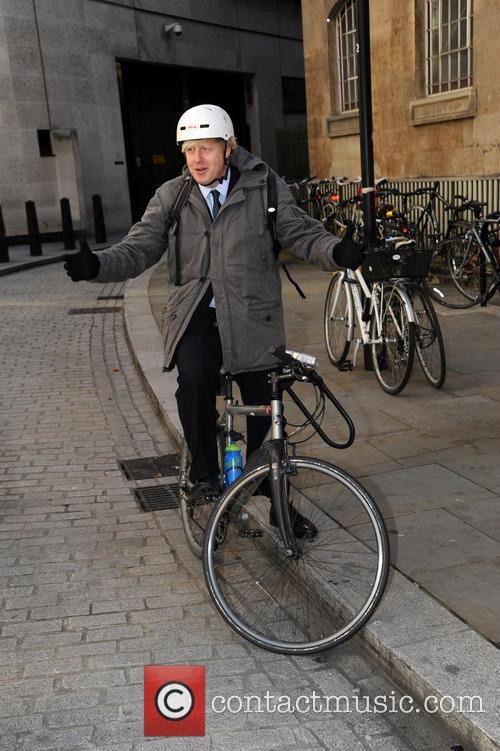 Boris Johnson leaving the BBC on his bike