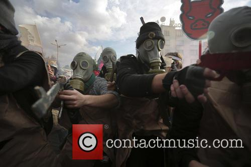 Bulgaria Anti Government Protest Fire