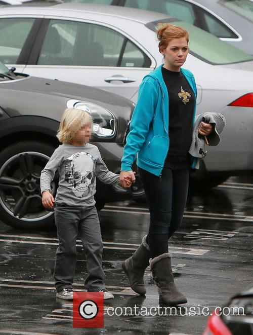 Zuma Rossdale walks to school with his nanny