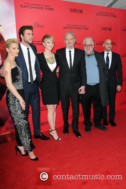 Elizabeth Banks, Liam Hemsworth, Jennifer Lawrence, Francis Lawrence, Phillip Seymour Hoffman and Stanley Tucci