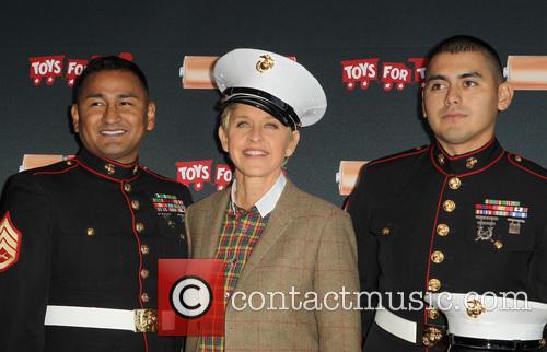 Sergeant Antonio Sanchez, Ellen Degeneres and Gunnery Sergeant Phillip Campo 3