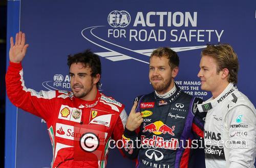 Sebastian Vettel, Fernando Alonso and Nico Rosberg 4