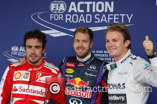 Sebastian Vettel, Fernando Alonso and Nico Rosberg 10
