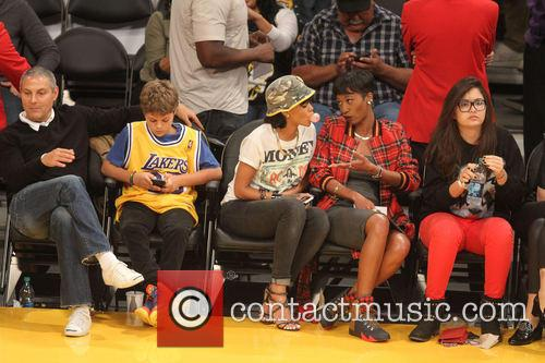 rihanna celebs at the lakers game 3967620