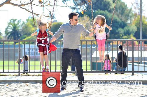 Ben Affleck takes his daughters to a park...