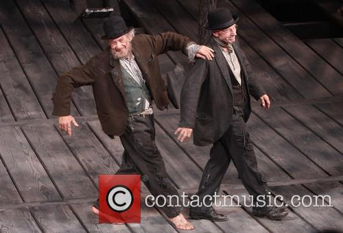 Ian McKellen and Patrick Stewart performing Broadway's 'Waiting For Godot'