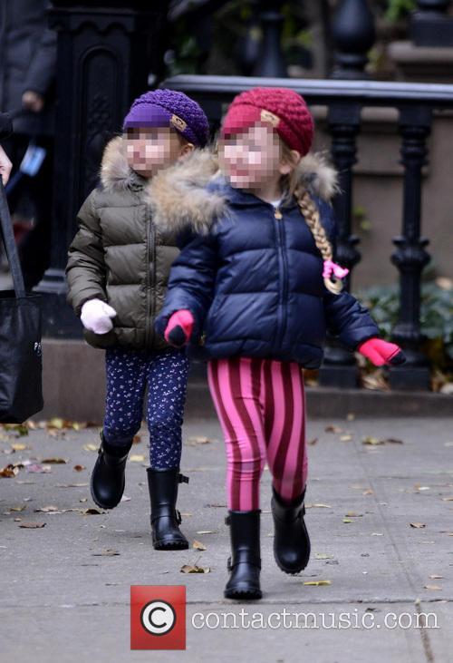 Broderick's twin daughters on school run