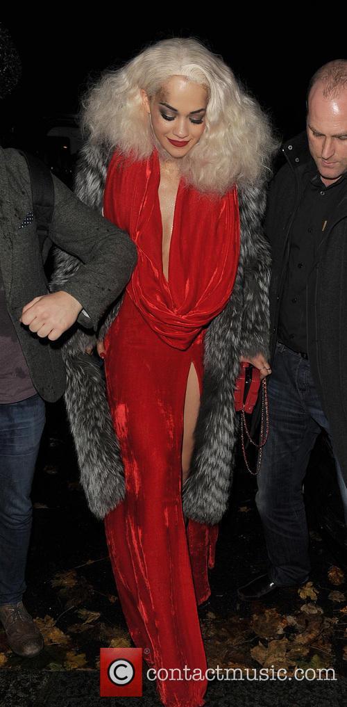 Rita Ora arrives home with Calvin Harris at...