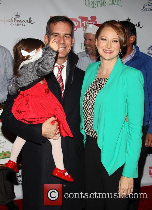 Mayor Eric Garcetti, Amy Wakeland and Maya Garcetti 3