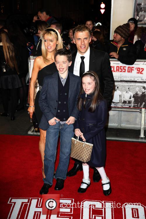 Phil Neville, Julie Neville and children 1
