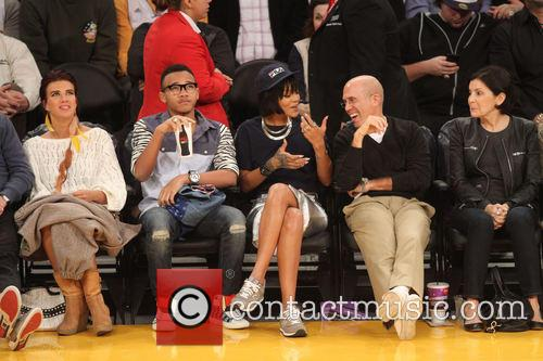 rihanna celebrities at the lakers game 3977242