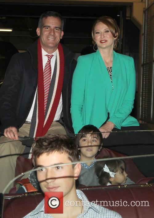 Mayor Eric Garcetti, Amy Wakeland, On Hollywood Blvd, Hollywood Christmas Parade