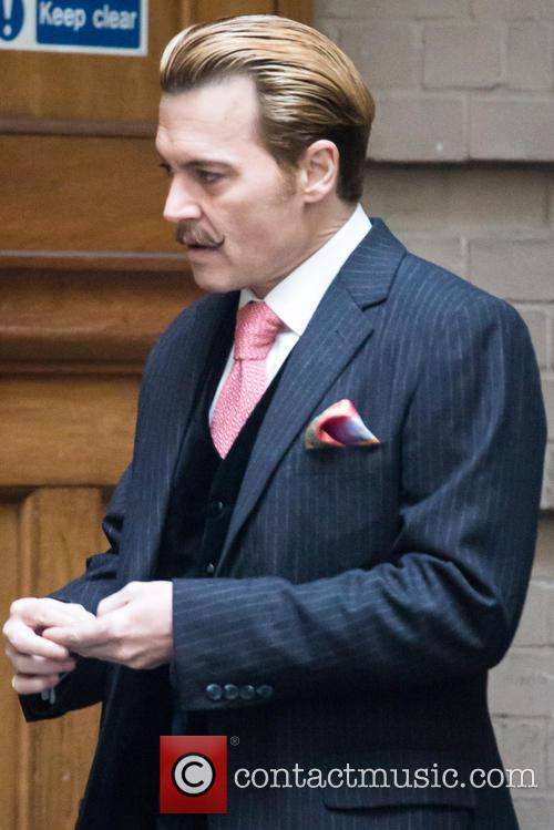 Johnny Depp on Mortdecai set