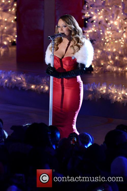 Mariah Carey performing at the Rockefeller Center
