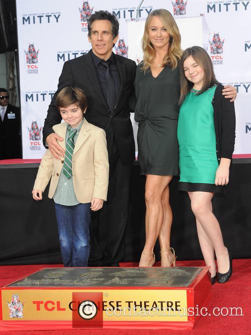 Ben Stiller and Christine Taylor Ella Olivia Stiller Quinlin Dempsey Stiller