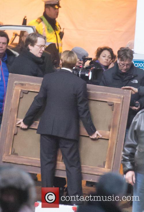 Johnny Depp on the set of 'Mortdecai'