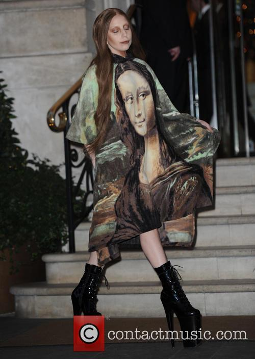 lady gaga in Mona Lisa poncho