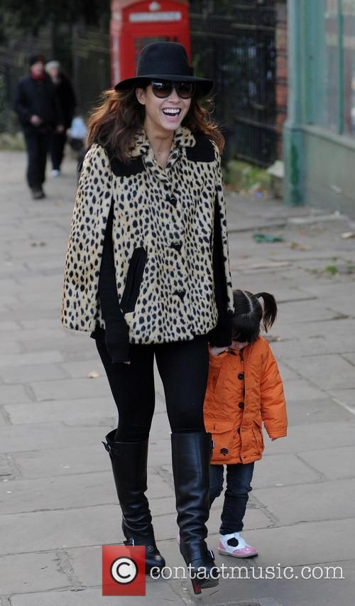 Myleene Klass out and about with daughter Hero