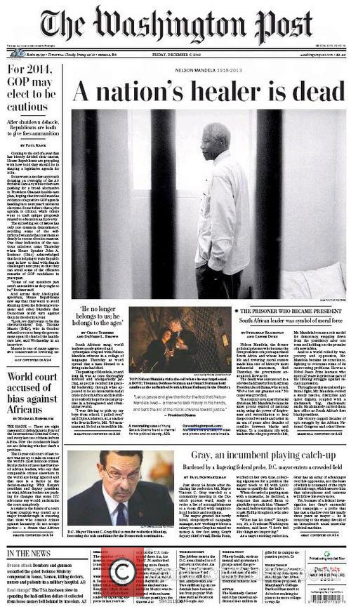 Front Pages From Around, The World and Nelson Mandela Dies 2