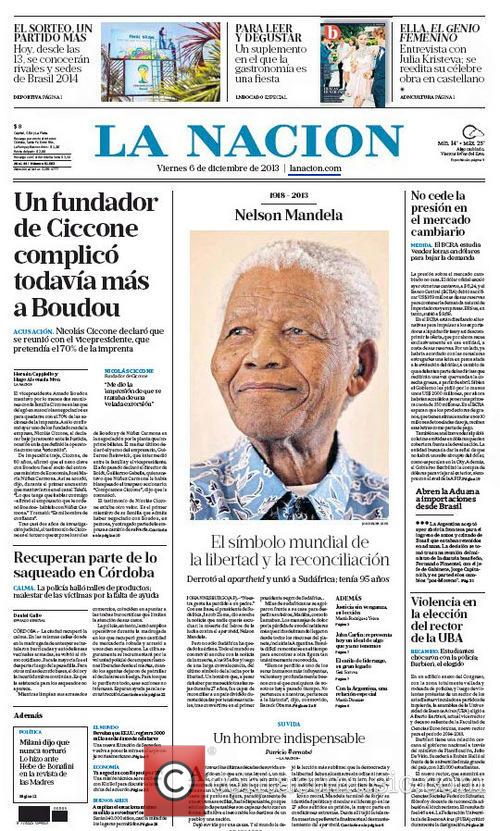 Front Pages From Around, The World and Nelson Mandela Dies 11