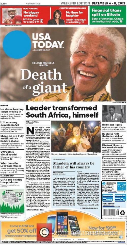 Front Pages From Around, The World and Nelson Mandela Dies 20