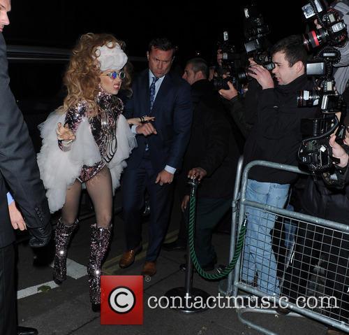 Lady Gaga arriving at Annabells Nightclub in london.