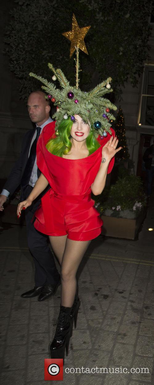 Lady Gaga Christmas Tree outfit
