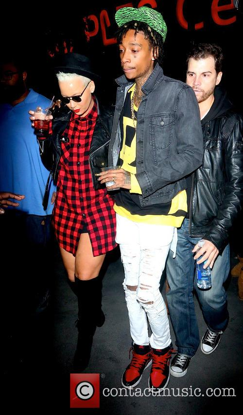 Wiz Khalifa and Amber Rose leaving the Staples...