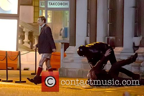 Johnny Depp filming on the set of 'Mortdecai' in London