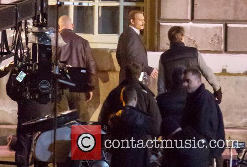 Johnny Depp filming on the set of 'Mortdecai'