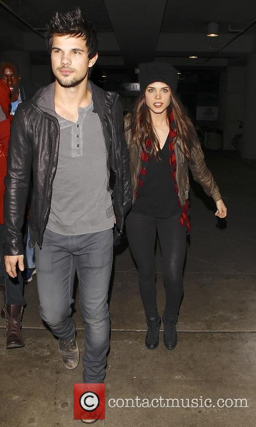 Taylor Lautner and Marie Avgeropoulos at the Jay...