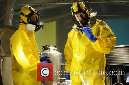 Aaron Paul and Bryan Cranston as Jesse Pinkman and Walter White