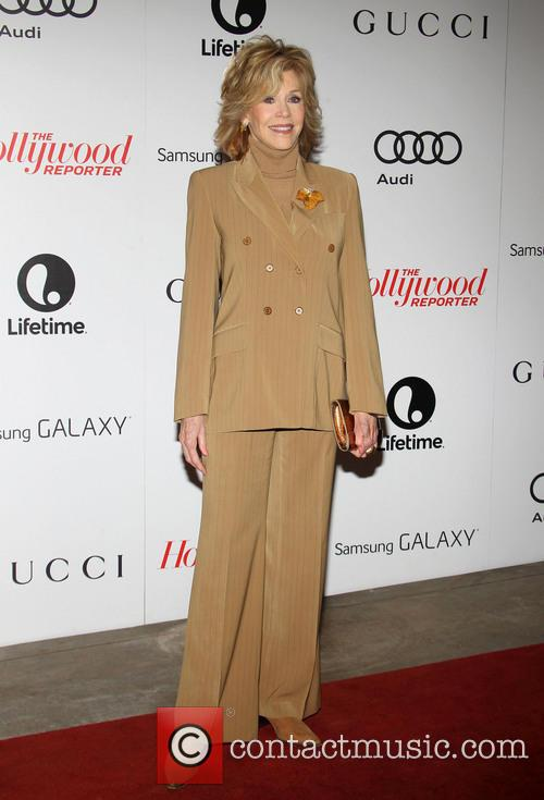 Jane Fonda Beige Suit